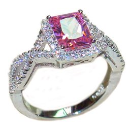 Wholesale Ring Pink Topaz - Luxury 6CT square Pink Topaz CZ Diamond gemstone Rings finger Jewelry Eternal 925 Sterling Silver Engagement Wedding Band Ring for Women
