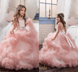 Wholesale Kids Frocks For Girls - 2017 New Arrival Glitz Pageant Dresses Ball Gown Crystal Kids Frock Designs First Communion Dresses For Girls kids Evening Gowns