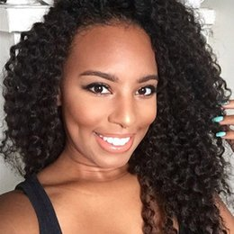 Wholesale Indian Remy Color - 130% Density Indian Remy Hair Full Lace Human Hair Wigs For Black Women Kinky Curly Lace Front Wig with Baby Hair Natural Color