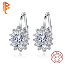 Wholesale Flower Shaped Hoop Earrings - BELAWANG 925 Sterling Silver Flower Shape Earrings White Round Crystal Hoop Earrings with Tiny CZ Prevent Fall off Anniversary Jewelry Gift