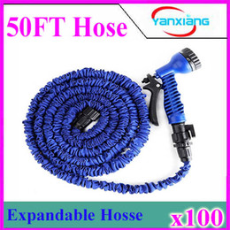 Wholesale Water Spray Nozzles Wholesale - Garden hose with Spray Nozzle 3 X expandable blue green water hose Free Shipping 50 ft 100pcs ZY-SG-03