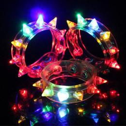 Wholesale Led Blinking Bracelets - Multi Colors Night Glow Stick Flashing Bracelet Light Sticks Blinking Spike Bracelets Festival DIY Led Party Kids Toy ZA3379