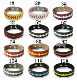 Wholesale Sports Rope Bracelets - Men and women leather hand rope woven bracelet general Softball baseball sports bracelet