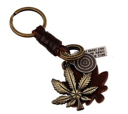 Wholesale Rings Canada - Canada Maple Leaf Keychain Creative Romantic Fashion Retro Color Leather Key Chain Ring Holder Keyfob Keyring