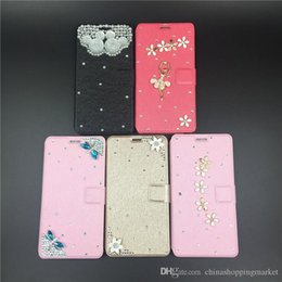 Wholesale Hands S4 - Hand-made Diamond Wallet Leather Case Luxury Bling PU Cover With Card Slot For iPhone 5 6 7 8 Plus Galaxy S4 S5 S6 S7 edge Note 4 5