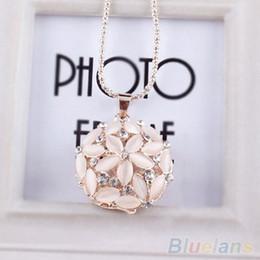 Wholesale Long Flower Crystal Pendant Necklace - Wholesale-Woman Lady 3D Opal Crystal Flower Shape Chain Sweet Pendant Long Necklace 1SDP