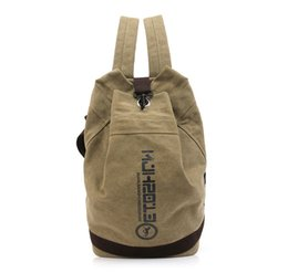 Wholesale Ancient Army - gdp14503WWJ 2017 new trend bucket canvas double shoulder bag restoring ancient men and women's large capacity travel pack