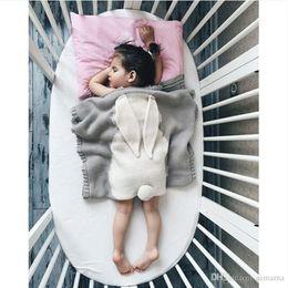 Wholesale Handmade Flannel - Popular Baby Boy Girls Flannel Blankets Air Conditioning Knitting Grey Blanket Baby Kids 75 X 105CM Nursery Bedding Cartoon Rabbit Blanket