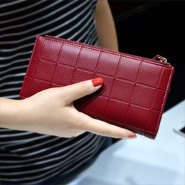 Wholesale Womens Long Wallets - Womens Wallets and Purses Ladies Long 2 Zipper Coin Pocket 5.5 Phone Lady 10 Card Holder pu Leather Red Girls Wallet Female