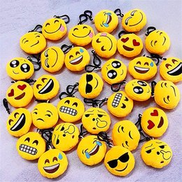 Wholesale Wholesale Mini Anime - QQ Emoji Stuffed Toys Keychain 6cm Mini Emotions Smiley Little Pendant Emotion Yellow QQ Plush Dolls Handbag Pendant