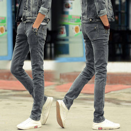 Wholesale Cool Designer Jeans - Wholesale-Mens Skinny Jeans 2016 Fashion Slim Stretch Jeans Mens Denim Pants Cool Designer Casual Elastic Jeans Gray