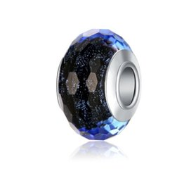 Wholesale authentic pandora murano glass beads - Authentic 925 Sterling Silver Blue Murano Lampwork Glass Charm Beads For Pandora European Jewelry Charms Bracelet & Necklace DIY Woman Gift