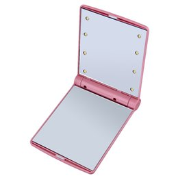 1 pc Lady Maquillage Pliant Cosmétique Portable Compact Poche Miroir 8 LED Lumières Lampes Vente Chaude Livraison Gratuite ? partir de fabricateur