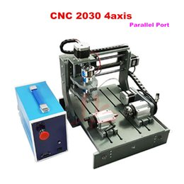 Wholesale Dc Spindle Cnc - 4 axis cnc wood carving machine 2030-parallel port with 300W DC spindle include tax to Russia