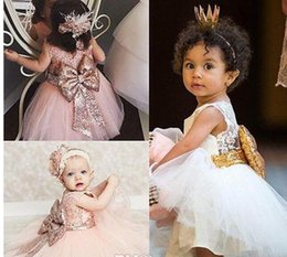 Wholesale Young Girls Pageant Dresses - 2017 New Toddler Kids Young Girls Flower Girl Dresses Princess Party Pageant Formal Dress Back Bow Vestido de Birthday and Communion