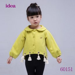 Wholesale Dolls Coats - Toddler kids outwear 2017 autumn new baby girls tassel princess coat Infant kids doll collar single breasted outwear baby clothing T3742