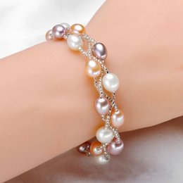 Wholesale Birthday Wedding Wishes - 5 Pcs Beautiful Love Wish Freshwater Pearl Magnet Clasp Chain Bracelet 5.5-6.6 mm AAA Birthday Wedding Gift
