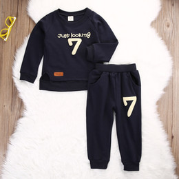 Wholesale Hot Girls Sweaters - hot sale boys girls suits Toddler Baby Boy Kids Sweater Tops+Long Pants Clothes just looking 7 funny printed Outfits Gentleman fashion Set