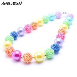 Wholesale colorful resin necklace - MHS.SUN Fashion Pretty Colorful Kid Chunky Necklace Rainbow Style Children Bubblegum Bead Chunky Necklace Jewelry For Toddler Girls