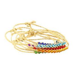 Wholesale White Gold Friendship Bracelets - grass life 100pcs Fashion braided rainbrow 12 beads raphia raffia bracelets jewelry, woven friendship Love lucky grass Free shipping