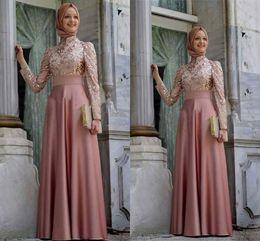 Wholesale Dark Burgundy Scarf - 2017 Muslim Evening Dresses Long Sleeves Pink Hijab Islamic Abaya Kaftan Gold Applique Long Evening Gowns Dubai Prom Dress With Scarf