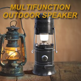 Wholesale Radio Stand - smart bluetooth speaker outdoor portable FM wireless speakers built-in 2200mAh solar power to charge the battery with retail package