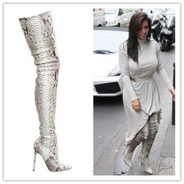 Wholesale Animal Print High Heels - Fashion python leather boots snakeskin pattern pointed toe womens thigh high boots over the knee high heeled boots women's shoes
