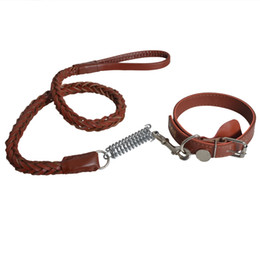 Wholesale Dog Belt Leather Collars - Outdoor High Quality Pet Dog Leather Walking Leashes 130cm Adjustable Collar Safety Traction Belt Walking Training
