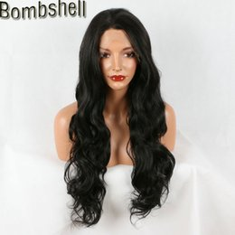 Wholesale High Temperature Fiber Wigs - Bombshell 16-26 Inch Deep Wave Black Lace Front Synthetic Wig High Temperature Heat Resistant Fiber Middle Part For Black Women