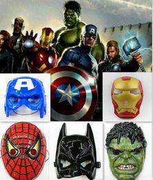 Wholesale Spiderman Kid Mask - The Avengers mask superhero mask Spiderman Hulk Captain America Batman Iron Man mask Theater Prop Novelty or Kids Favorite