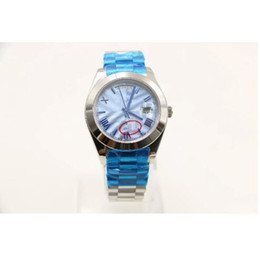 Wholesale Business Display Cases - 36MM Classical Mens automatic Watch Watches day date display round blue striped dial president strap stainless watch case A15