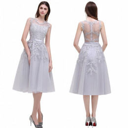 Wholesale Beaded Evening Knee Length Dress - 2017 New Crew Neck Lace Knee Length Graduation Cocktail Dresses Organza Lace Applique Beaded Short Party Evening Homecoming Gowns CPS298
