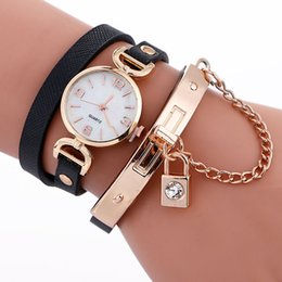 Wholesale Locked Belts For Women - Fashion women long straps lock chain bracelet watch 2017 new wholesale casual ladies leather dress quartz wrist watches for lady free ship