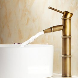 Wholesale Bathroom Vessel Ceramic - Antique Brass Vessel Faucet for Bathroom Basin Faucets with Bamboo Style Fixtures Kitchen Lavatory Mixer Taps