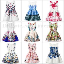 Wholesale Retro Baby Dresses - Baby Princess Party Dress Girls Summer Dresses Butterfly Print Dress Girl Flower Costume Retro Slim Sleeveless Dress Kids Baby Clothes B1912