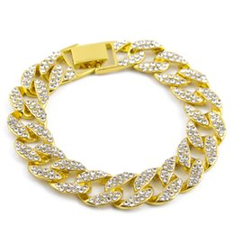 Wholesale Hip Hop Wholesale Beads - Gold Fully Iced Out Hip Hop CZ Bracelet Mens Miami Cuban bracelet Men's Luxury Simulated Bling Rhinestones Fashion Bangles 2017 hot sale