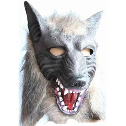 Wholesale Heads Dance - Scary Gray Wolf Head Masks Latex Mask Animal Party Devil Makeup Dance Mask Holloween Cosplay Props