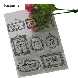 Wholesale Bear Photo Album - Wholesale- 2016 Cute Bear New Scrapbook DIY Photo Album Account Transparent Silicone Rubber Clear Stamps Cartoon YS054 Gift