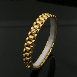 Wholesale Wedding Rings Gold 18k - Watch Chain Crown Bracelets Bangles For Men 316L Stainless Steel Rose Gold Plated Luxury Designer Fashion Jewelry