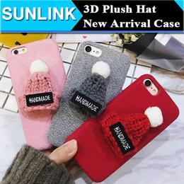 Wholesale 3d Christmas Iphone Case - 2017 New Korea Warm Wool 3D Plush Hat Phone Case Hard Fur TPU PC Cover case for iPhone 6 6s 6plus 7 7plus 5 5S SE Christmas