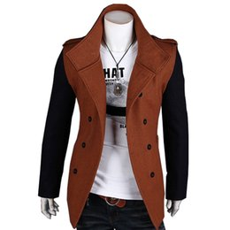 Wholesale Trench Coat Vogue - Wholesale- Autumn Winter Trench Coat Men The Double-Breasted Coat Of Recreational Vogue Sleeves & Body Color Is Different Mens Overcoat