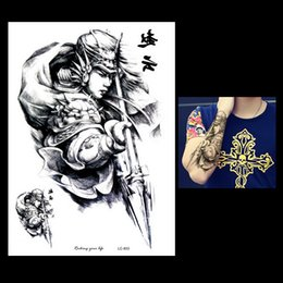 Wholesale Paintings Big Eyes - Wholesale- 1pc Waterproof Large Big Tattoo Sketch Handsome Zhao Yun Painting Design LC-853 Temporary Women Men Body Art Tattoo Sticker Gift