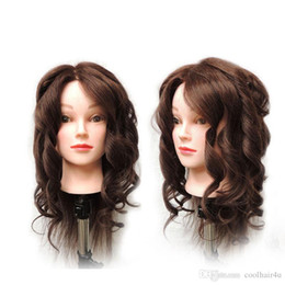Wholesale Hair Salon Mannequin Heads - 22'' Synthetic Mannequin Head Hair Salon Hairdressing Training head Mannequin Doll &Clamp Cosmetology Mannequin Head