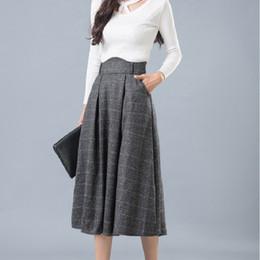 Largas otoño de Mujeres falda Faldas 2019 de Cintura Nueva Elegantes 2016 Maxi escocesa Llegada invierno qwOtwIz