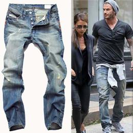 Wholesale Famous Ties - High Quanlity 2017 men famous brand blue denim designer high quality ripped jeans for men classic retro David Beckham same paragraph