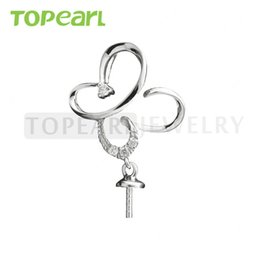 Wholesale Pendant Butterfly Pearl 925 - 9PM140 Teboer Jewelry 5pcs LOT Butterfly Pendant 925 Sterling Silver DIY Jewelry Findings for Drop Pearls