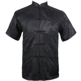Wholesale Collar Silk Sleeve - Wholesale- New Black Chinese Men Summer Leisure Shirt High Quality Silk Rayon Kung Fu Tai Chi Shirts Plus Size M L XL XXL XXXL M061306