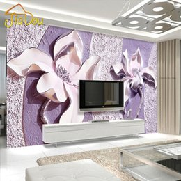 Wholesale 3d Wall Decor Paper - Wholesale-Customize Any Size 3D Relief Purple Magnolia Bedroom TV Background Wall Paper Home Decor Living Room Non-woven Mural Wallpaper