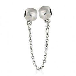 Braccialetti d'argento del branello della sfera online-Logo del marchio branelli di fascini della catena di sicurezza Adatto i braccialetti europei 925-sterlina-argento branelli della sfera rotonda per Diy monili che fanno accessori HB660