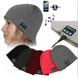 Wholesale Gym Headphones Wholesale - Wholesale NEW Soft Warm Beanies Bluetooth Music Hat Cap with Stereo Headphone Headset Speaker Wireless Mic Hands-free for Men Women Gift